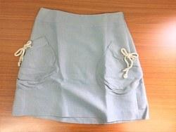 美品♪ Anatelier ミニ丈 台形スカート 36 水色系 綿麻混