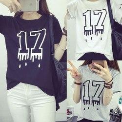 ナンバー 17 Tシャツ トップス 黒 ブラック ホワイト グレー 半袖 無地