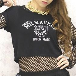 トラ プリント ショート丈 Tシャツ トップス 黒 ブラック 半袖