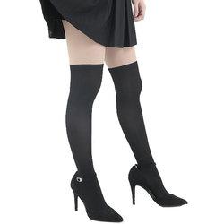 ニーハイストッキング レディース ニーハイソックスを履いた様に見える ニーハイタイツ 無地 黒 ブラック