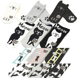 可愛い ねこ ファイス ネコ柄 靴下 ショートソックス 1足 フットカバー 猫 ネコ