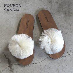 サンダル レディース ポンポン ローヒール サンダル ペタンコ サンダル 白 ホワイト