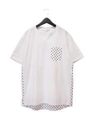 水玉切替え ヘンリーネックTシャツ White M