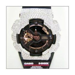 G-SHOCK ジーショック カスタム メンズ 腕時計 GA-110 GA110 RG-1A カスタムベゼル おしゃれ 芸能人 シルバー 18金 メンズ ファッション CROWNCROWN GA110-016