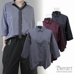 DRT2356 ストライプ 七分袖 ドルマンシャツ
