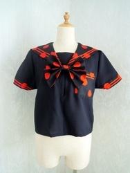 黒×赤ドットセーラーブラウス(黒)