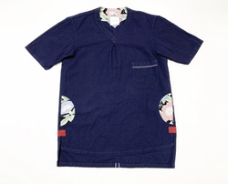 19SS  Cotton indigo mesh V neck T-shirts