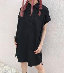 ビッグシャツワンピース【HELLCATPUNKS】ブラック フリーサイズ 半袖シャツ レディース(20180615SH-001)