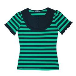 パフスリーブTシャツ【HELLCATPUNKS】 グリーン Sサイズ 半袖Tシャツ ボーダーTシャツ レディース(HCP-C402-01)