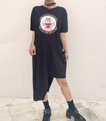 リボン付きTシャツワンピース【HELLCATPUNKS】 ブラック フリーサイズ レディース(HCP-OP-0084)
