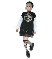 袖配色ブラウス【HELLCATPUNKS】ブラック フリーサイズ キャンディスリーブシャツ 袖配色シャツ レディース(HCP-SH-0007)