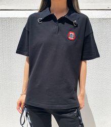 リング付ポロシャツ【HELLCATPUNKS】 ブラック フリーサイズ レディース ユニセックス(HCP-SH-0013)