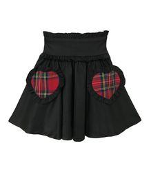 ハートポケットスカート【HELLCATPUNKS】ブラック フリーサイズ ミニスカート レディース(HCP-SK-0027)