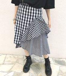 2WAY切り替えスカート【HELLCATPUNKS】 ブラック ホワイト フリーサイズ チェックスカート レディース(HCP-SK-0034)