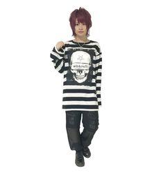 SKULL ボーダービッグロンT【HELLCATPUNKS】ホワイト フリーサイズ ドクロTシャツ ボーダー長袖Tシャツ レディース(HCP-T-0063)