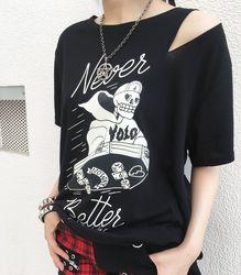 SKATER SKULL Tシャツ【HELLCATPUNKS】ブラック フリーサイズ レディース(HCP-T-0065)