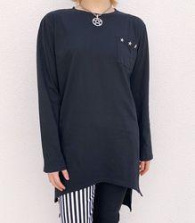 スタースタッズ ロングスリーブTシャツ【HELLCATPUNKS】 ブラック スタッズ Fサイズ レディース ユニセックス(HCP-T-0080)