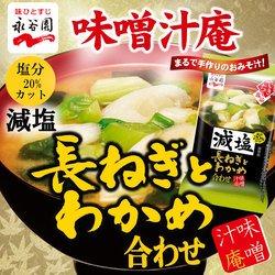 フリーズドライ味噌汁 永谷園 味噌汁庵 長ねぎとわかめ 合わせみそ 減塩 塩分 20%カット