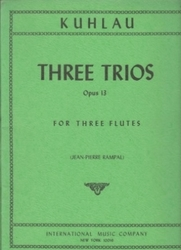 書籍 Three Trios Opus 13 For three flutes Kuhlau IMC NY 10016