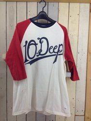 10DEEP テンディープ ラグランロゴプリントTシャツ M ホワイト/レッド/ネイビー/トップス【中古】[☆3]