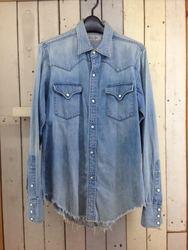 UNUSED アンユーズド デニムウエスタンシャツ 裾フリンジ コットン 2 アイスブルー/シャツ【中古】[☆3]