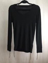 LOUNGE LIZARD ラウンジリザード Vネック 長袖Tシャツ 2 ブラック 黒/トップス【中古】[☆3]