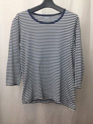 SUNSPEL サンスペル ボーダー 七分袖Tシャツ S ネイビー×ホワイト/トップス【中古】[☆3]