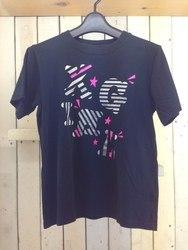 X-girlエックスガール プリントTシャツ 襟元後ろステッチ入り 1 黒×ピンク×シルバー/トップス【中古】[☆3]