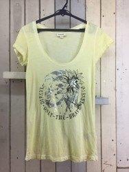 DIESEL ディーゼル プリントTシャツ 半袖ロングTシャツ XS イエロー×シルバー×ブラック/トップス【中古】[☆3]