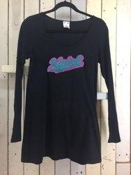 X-girl エックスガール ロングTシャツ ロンT ロゴワッペン付き 1 ブラック×ピンク×グリーン/トップス【中古】[☆3]