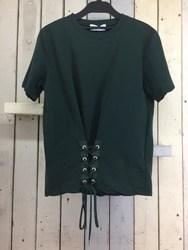 Mila Owen ミラ オーウェン 半袖カットソー 編み上げTシャツ 1 グリーン/トップス【中古】[☆3]