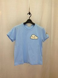 MONCLER モンクレー 15AW Friend with you Collection MAGLIA-T-SHIRT CLOUDY 胸元ワッペンTシャツ 雲 半袖 コットン L ライトブルー/トップス【中古】[☆3]