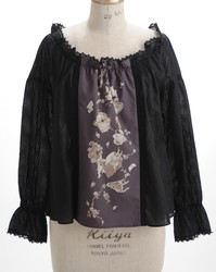 Falling Alice Shirring Blouse  Color:Black