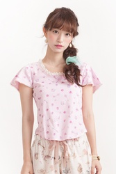 Talking Rose Tee  Color:Pink