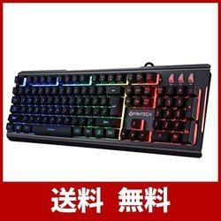ゲーミングキーボード usb有線 合金フレーム 7色LEDバックライト 104キー キーの抗衝突 1680万色 アルミ加工【Windows/Mac O