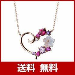 [Angie]「ロマンチックな桜」ハート 桜ネックレス レディース シルバー925 AAAキュービックジルコニア 天然貝殻パール 桜 アクセサリー バ