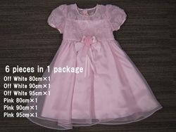 リボン刺繍ネックパール仕様サテンドレス80,90,95、シロ、ピンク各1枚、6枚SET
