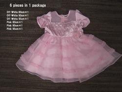 胸タックパール仕様ドレス80,90,95、オフ、ピンク各1枚6枚SET