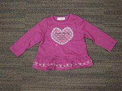 ハートプリント裾フリルTシャツ