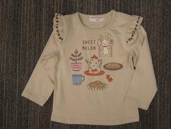 ウサギお食事プリント袖フリルTシャツ