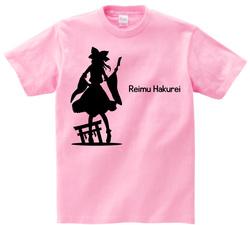 東方 シルエット 博麗霊夢 Bタイプ 半袖Tシャツ / Toho silhouette Reimu Hakurei Short-sleeved t-shirt pink S size