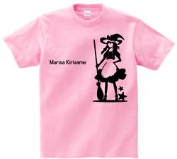 東方 シルエット 霧雨魔理沙 Aタイプ 半袖Tシャツ / Toho silhouette Marisa Kirisame Short-sleeved t-shirt pink S size