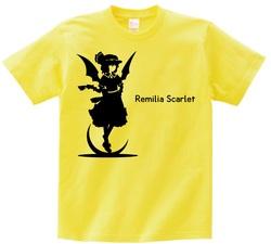東方 シルエット レミリア・スカーレット Aタイプ 半袖Tシャツ / Toho silhouette Remilia Scarlet Short-sleeved t-shirt yellow S size