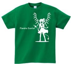 東方 シルエット フランドール・スカーレット Aタイプ 半袖Tシャツ / Toho silhouette Flandre Scarlet Short-sleeved t-shirt green S size