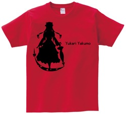 東方 シルエット 八雲紫 Bタイプ 半袖Tシャツ / Toho silhouette Yukari Yakumo Short-sleeved t-shirt red S size