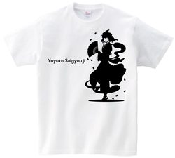 東方 シルエット 西行寺幽々子 Aタイプ 半袖Tシャツ / Toho silhouette Yuyuko Saigyouji Short-sleeved t-shirt white S size