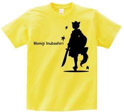 東方 シルエット 犬走椛 Bタイプ 半袖Tシャツ / Toho silhouette Momiji Inubashiri Short-sleeved t-shirt yellow S size