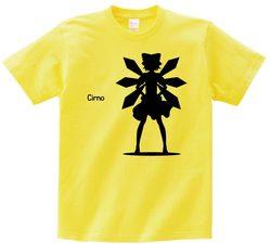 東方 シルエット チルノ Bタイプ 半袖Tシャツ / Toho silhouette Cirno Short-sleeved t-shirt yellow S size