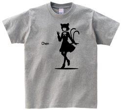 東方 シルエット 橙 Aタイプ 半袖Tシャツ / Toho silhouette Chen Short-sleeved t-shirt grey S size