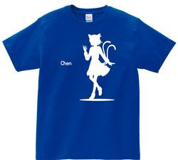 東方 シルエット 橙 Bタイプ 半袖Tシャツ / Toho silhouette Chen Short-sleeved t-shirt blue S size